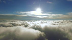 Flying Through The Clouds Towards The Sun. Through the clouds to the sun. 4k resolution