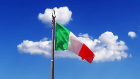 Flying clouds and waving Flag of Italy stock footage