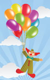Flying Clown and Balloons Stock Photos