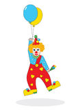 Flying clown with balloons - illustration Stock Images