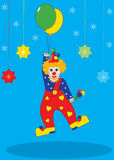 Flying clown in the circus - illustration Royalty Free Stock Images