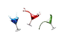 Flying cocktails Royalty Free Stock Images