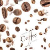 Flying coffee beans Stock Photography