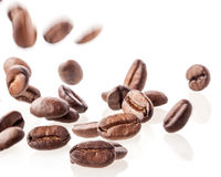 Flying coffee beans Royalty Free Stock Photography