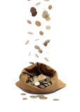 Flying coins, falling in bag Stock Photography