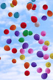 Flying color balloons Stock Images