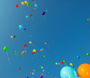 Flying color balloons Royalty Free Stock Photos