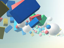 Flying color boxes and balls Royalty Free Stock Photo