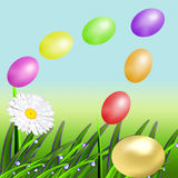 The flying color Easter eggs Stock Photos