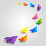 Flying color paper planes Royalty Free Stock Photos
