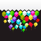 Flying colored 3d cubes abstract background Royalty Free Stock Images