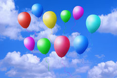Flying colored balls Stock Photos