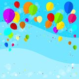 Flying colorful balloons flat icon blue background Stock Image