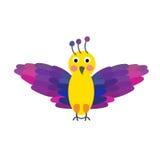 Flying colorful Bird cartoon character. Royalty Free Stock Photos