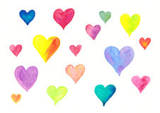 Flying colorful hearts watercolor painting Royalty Free Stock Photo