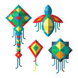 Flying colorful kite vector illustration. Royalty Free Stock Image