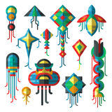 Flying colorful kite vector illustration. Royalty Free Stock Images