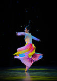 Flying colorful skirt-National Dance Royalty Free Stock Photography