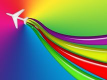 Flying Colors. Illustration of a flying plane with streams of color behind it, on a colorful background Royalty Free Stock Image
