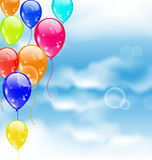 Flying colourful balloons in blue sky. Illustration flying colorful balloons in blue sky - vector Stock Image