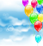 Flying colourful balloons in blue sky. Illustration flying colourful balloons in blue sky - vector Stock Photos