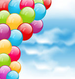Flying colourful balloons in blue sky. Illustration flying colourful balloons in blue sky - vector Royalty Free Stock Image