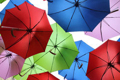 Flying colourful umbrellas Royalty Free Stock Photo