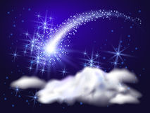 Flying comet. With curved glowing tail Royalty Free Stock Photo