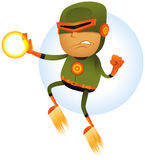 Flying Comic Superhero. Illustration of a cartoon orange and green masked super hero character flying and fighting in the air with power laser beam weapon in his Stock Photography