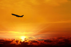 Flying commercial airplane Stock Image
