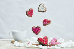 Flying cookies in the forms of hearts