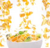 Flying corn flakes to the bowl Royalty Free Stock Photography