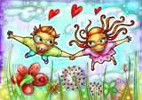 Flying couple illustration. Flower field. Blue sky Royalty Free Stock Photos