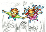 Flying couple illustration Royalty Free Stock Images