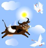 Flying cow. In the blue sky flying funny cow, two birds surprised her Stock Image