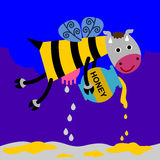 Cow bee. A flying cow with a bee's body is delivering milk and honey Royalty Free Stock Photos