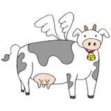 Flying Cow Cartoon royalty free illustration