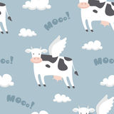 Flying cows. Vector seamless pattern with funny flying cows Royalty Free Stock Photo