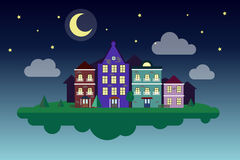 Flying cozy city. Moon night. Night small town. Starlight Night. Moonlight in the night. City  illustration Stock Images