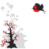 Flying crane bird and flowering tree Royalty Free Stock Photo