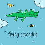 Flying crocodile Royalty Free Stock Photos