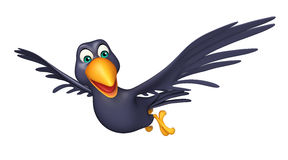 Flying  Crow cartoon character. 3d rendered illustration of flying  Crow cartoon character Stock Images