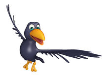 Flying  Crow cartoon character Royalty Free Stock Images