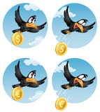 The flying crow drops the coin dollar or  euro. The flying crow drops the euro. The flying crow drops the dollar. Cartoon styled vector illustration. Elements is Royalty Free Stock Images