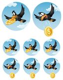 The flying crow drops symbol of different currencies. Dollar, eu Stock Photo