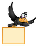 The flying crow holds blank banner. Cartoon styled vector illustration. Isolated on white Stock Photos
