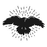 Flying crow silhouette. Stock Image