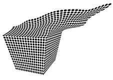 Flying Cube. Background with flying dotted cube royalty free illustration