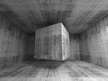 Flying cube in abstract 3d concrete room interior. Abstract dark gray concrete room interior. 3d background illustration with flying cube Royalty Free Stock Images