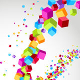 Flying cube colorful bright wave perspective Royalty Free Stock Photos